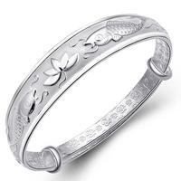 999 fine silver bracelet pisces lotus pure silver bracelet female silver bracelet sliding gift