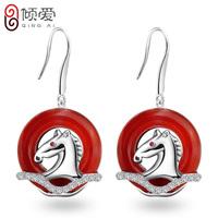 S925 pure silver earrings female earrings le formal transhipped red agate drop earring