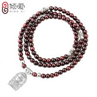 990 pure silver necklace Wine red garnet pendant female 108 fozhu design long necklace