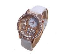 Eiffel Tower Wholesale women wristwatches ladies fashion leather strap quartz watch rhinestone Women dress watches FSW188