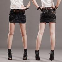 free shipping 2014 autumn and winter women's fashion water wash black plus size casual denim short skirt slim hip bust skirt