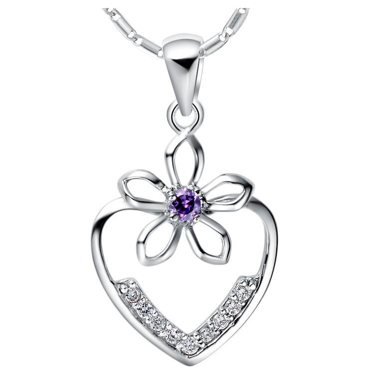 Cupid s Arrow Heart Love Necklaces White Purple Simulated Diamond Micro Pave CZ Valentine s Day