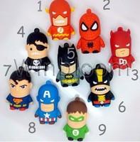 10pcs/lot Cartoon Hero Pen Drive 1GB 2GB 4GB 8GB 16GB 32GB Real Capacity  PVC Bat Man Super Man Avengers USB Flash Drive