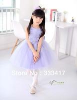 Children's wear purple flower children dress girl princess show bitter fleabane bitter fleabane  Wedding dresses