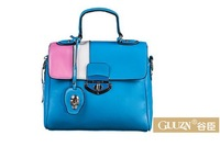 Free shipping GUUZN 2014  new street fashion handbags Korean version spell color leather shoulder bag diagonal