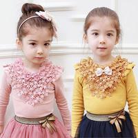 2014 Hot Sale Rushed Freeshipping O-neck Spring And Autumn Girls Clothing Baby Child Long-sleeve T-shirt Tx-2416 Basic Shirt