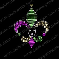 Free Shipping Hot Sale Beauty Hot Fix Rhinestone Fleur De Lis Patterns Custom Strass Motif For Hoodies 30Pcs/Lot