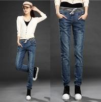 1666 loose casual pencil pants elastic waist jeans women's skinny pants female