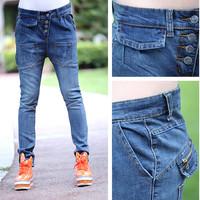 1667 new arrival fashion slim jeans buttons multi-pocket harem pants