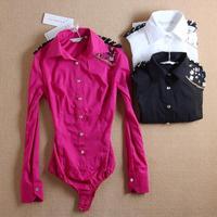 2014 women fashion OL shirt Brand Blouses blusas Jeweled epaulettes long sleeve shirt sexy rose red blouse body WSH-121