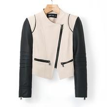 Faux Leather Jacket Women Cothing New 2015 Montage Patchwork Zipper Pockets PU Leather Jacket Fashion Autumn Winter Leather Coat(China (Mainland))
