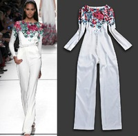 Free shipping 2014 runway women's brand fashion Ink flowers elegant Long-sleeved Slim white Jumpsuit/rompers