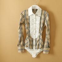 New Fashion Elegant Plaid long-sleeve Shirt Ruffles Brand Blouse women button down lapel shirt plaids S-M-L-XL-XXL WSH-115