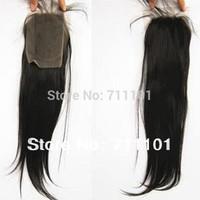Free Shipping!Top Selling Virgin Malaysian Human Hair Grade 6A Silky Straight Lace Front Closures 4''x4'' Natural Black Color