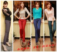 1631 plus size elastic boot cut jeans plus cotton thickening jeans mid waist skinny pants pencil pants plus velvet multicolour
