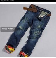 2013 hole jeans fashion roll up hem skinny pants trousers male 394