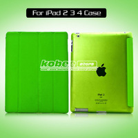 For ipad 2 3 4 Ultra Thin Full Protect Magnetic Smart Stand Front Leather Cover,Hard Back Case for ipad 2 3 4 1pcs Free Shipping