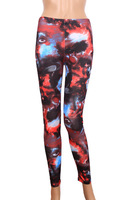 Chinese landscape painting graffiti art color printing Leggings 9 yards to wear pants