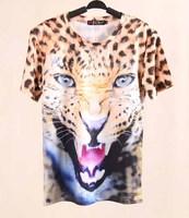 Women harajuku style Tiger Leopard Print 3D casual t shirts Summer tops 2014 New Fashion TS-103