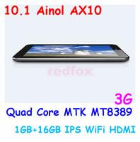 10.1'' Ainol NUMY 3G AX10 Quad Core MTK MT8389 Android 4.2 1GB 16GB IPS WiFi HDMI Bluetooth GPS 3G Dual Camera Tablet PC Russian