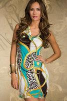 Promotion Price Women's Geometric Printed Sexy Fashion Sleeveless Slim Dress N117, Fashion Clubwear