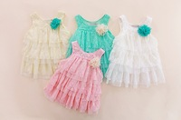 Baby Girls Lace Dresses Princess Children Clothing For Autumn -Summer Kids Flower Tutu Dress 4 Colors 2014 Freeshipping
