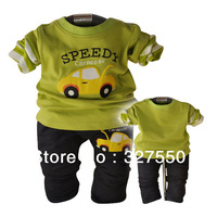 Free shipping 2014 Spring Valley section infant car kit baby boy clothing set brand baby clothes set 0-2 years three sets a lot