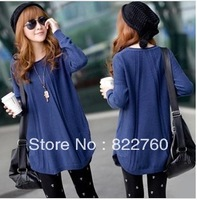 Autumn and winter medium-long 2013 plus size loose o-neck women's sweater basic outerwear