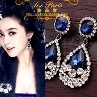 Fashion accessories luxury blue crystal super sparkling rhinestone long design stud earring earrings no pierced