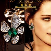 Fashion accessories elegant small fresh sparkling crystal stud earring earrings no pierced