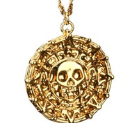 Pirates of the Caribbean JACK SPARROW AZTEC Coin Pendant Chain Necklace Gold/Bronze