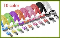 20pcs/lot   1M  Noodle Flat USB Sync Data & Charger Cable Colorful noodles Cable For iphone 3gs 4 4s for ipad 2 3 From DHL