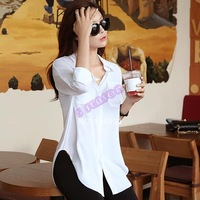 New Fashion Ladies Sexy Sheer Long Sleeve Chiffon Blouse Button Down Shirt Tops With 2Pockets For Women 20039