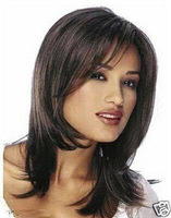 F801 new Stylish Medium dark brown hair women's wig +wigs CAP