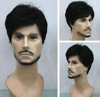 F923 charming short black health men hair wig kanekalon wigs