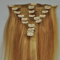 """50% OFF Cheapest hair extensions mixed color 18"""" 100g/set 100% human hair Remy clip in hair extensions free DHL"""