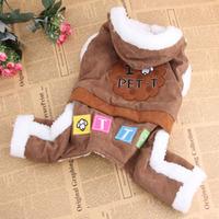 Fleece Costume Cute Pet Coat Winter Outwear Dog Cat Thick Warm Jumpsuit Apparel Free shipping & Drop Shipping