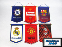 40pcs/lot  Soccer Football Club Real Madrid Barca Bayern Liverpool Chelsea 28x38cm High Quality Pentagon Hoisting Flags
