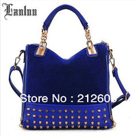 2014 New Trendy Punk Style Messenger Bags Women's Rivets Handbags Fashion Ladies Work Shoulder Bags Evening Bags Party Bags