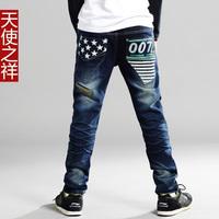 2014 Autumn and winter 100% cotton children  jeans  boy  elastic waist pants 001