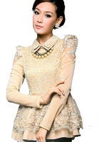Free Shipping ! 2014 Spring Female Plus size Basic Long-sleeve Shirt,Female mm Fashion Chiffon Lace Sweetie Princess Shirt