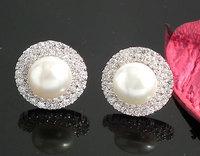 Freshwater Pearl Earring 100% Guaranteed Genuine 925 Sterling Silver Stud Earring Pave Setting Zircons YH44198