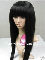 "promotion cheap human Kanekalon fibre Natural Cos Bob Kanekalon Fluffy Stylish straight full Wig 30"" long black 1# hair wigs"
