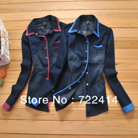 Free Shipping New 2014 Denim Blouse Shirt Women Long Sleeve Clothing Vintage Blue Jeans Casual slim Tops size M L XL