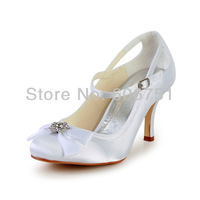 Round toe satin 8 cm high heel bride wedding shoes with rhinestone bow tie custom color women prom pumps plus size 3-14