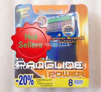 Free Shipping 8pcs/lot Best Quality Proglide Power 8S Shaving Razor Blades For Men sharpener shaving razor blades  RU Version