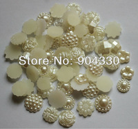 Free Shipping! 500pcs Mix 5 Flower Styles Random 13mm Flatback Imitational Pearls Scrapbooking Beads Embellishment DIY Crafts