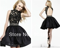 2014 Cocktail Dresses High Collar Neckline Open-back Black Lace Taffeta Rhinestones A-line Short Homecoming Party Dress C1407