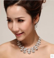 Hot selling blingbling wedding jewelry accessories sets necklace earrings jewelry set crystal acrylic