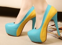 2014 new candy color patchwork platform thin high heels dress shoes A086 women pumps round toe size 4 basic ladies shoes